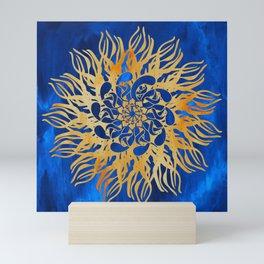 Mandala Madness - Golden Blue Mini Art Print