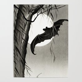 Bat flying under the full Moon - Japanese vintage woodblock print art Poster