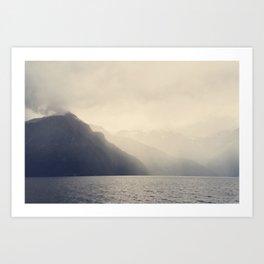 Foggy Fjord, North Sea Art Print