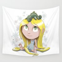 rapunzel Wall Tapestries featuring Rapunzel by EY Cartoons
