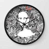 mona lisa Wall Clocks featuring Mona Lisa by Gribouilliz