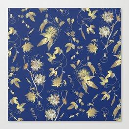 Elegant Gold Blue Passiflora Pattern Canvas Print