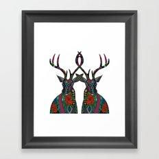 poinsettia deer white Framed Art Print