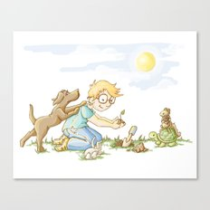 Beginning, Nature, Boy Planting A Seedling, Youth Illustration Canvas Print