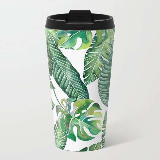 Jungle Leaves, Banana, Monstera #society6 Metal Travel Mug