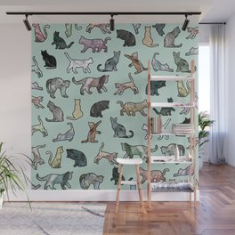Cats shaped Marble - Mint Green Wall Mural