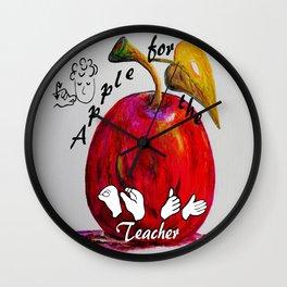 ASL Apple for the Teacher Wall Clock
