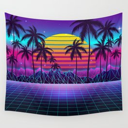 Radiant Sunset Synthwave Wall Tapestry
