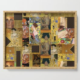 Klimt geometric collage Serving Tray