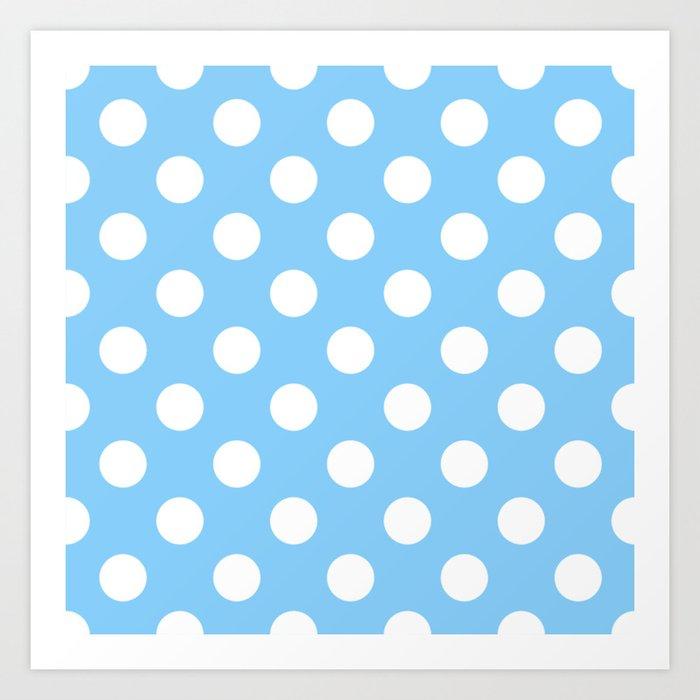Light Sky Blue Heavenly White Polka Dots Pois Pattern Art Print By Makeitcolorful