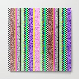Leopard Zebra Check Stripe Mixed Pattern - Vertical II Metal Print