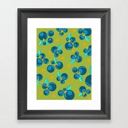 Blueberries | Green Framed Art Print