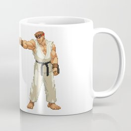 Ryu Hoshi and Ken Masters Pixel Art Coffee Mug