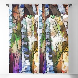 White Aspen and  Birch Trees Contemporary Art Blackout Curtain