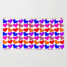 Colorful Hearts Pattern Beach Towel