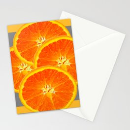 CONTEMPORARY SUCCULENT  ORANGE SLICES GREY ART Stationery Cards