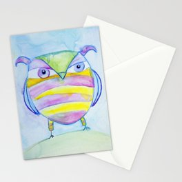 Striped Owl Cute Watercolor Painting by Garden Of Delights Stationery Cards
