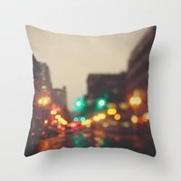 portland Throw Pillows featuring Portland In The Rain by Laura Ruth