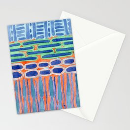 Blue Shapes Pattern Stationery Cards