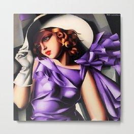 Girl in a Purple Dress Haute Couture Art Deco portriat painting Tamara de Lempicka Metal Print