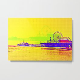 Yellow Pop Art Santa Monica Pier Metal Print