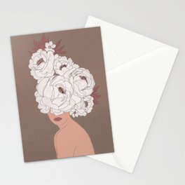 Woman with Peonies Stationery Cards