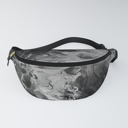 Black and Gray Moon Crater Abstract Fluid Painting Fanny Pack