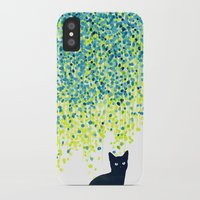 budi iPhone & iPod Cases featuring Cat in the garden under willow tree by Picomodi