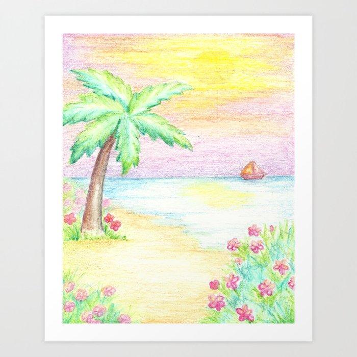 Palm Tree, Beach Decor, Whimsical Art Print By