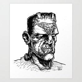 FRANKIE JR. (Black & White) Art Print