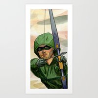 green arrow Art Prints featuring Arrow by Nicole Cuvin