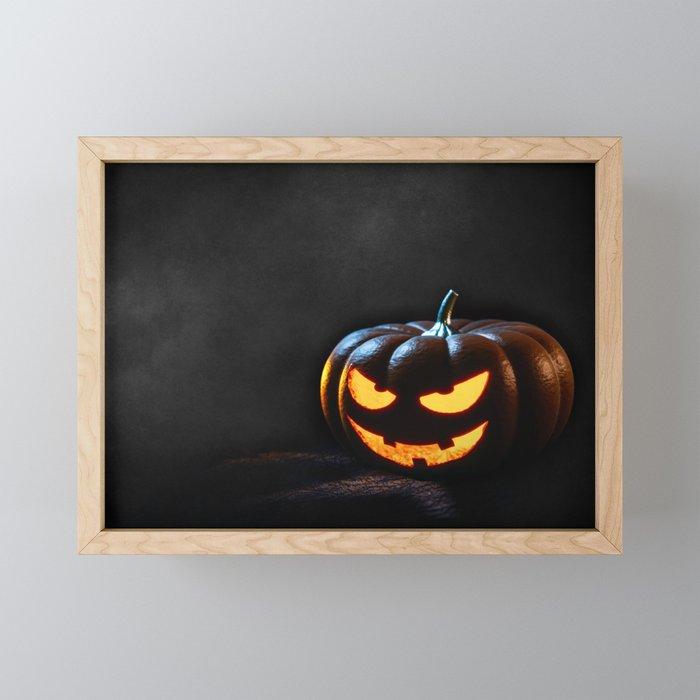 Halloween Pumpkin Jack-O-Lantern Spooky Framed Mini Art Print