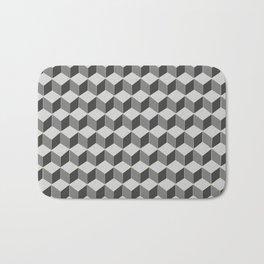 3d retro cubes in grey skies Bath Mat