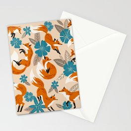 Foxes & Blooms – Tan & Blue Stationery Cards