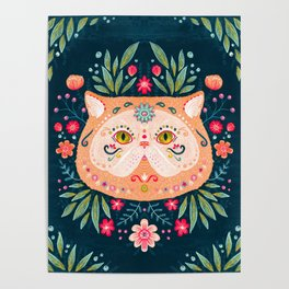 Candied Sugar Skull Kitty Poster