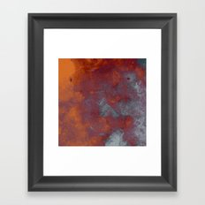 Cracked Amber - Textured abstract painting in amber and blue Framed Art Print