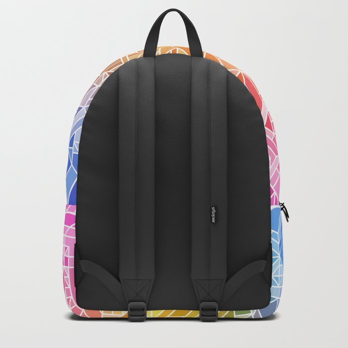 Bright Gradient (Hot Pink Orange Green Yellow Blue) Geometric Pattern Print Backpack