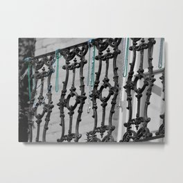Old balcony in New Orleans, after Mardi Grass Metal Print