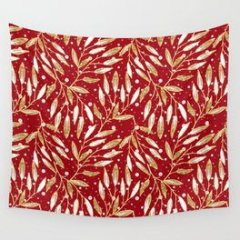 Christmas colorful pattern. Gold sprigs on a red background. Wall Tapestry