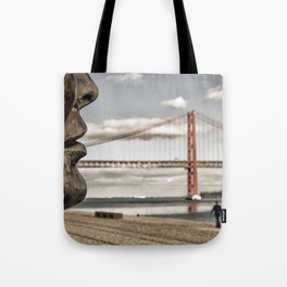 profile statue and bridge Tote Bag