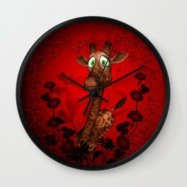 So cute, funny cartoon giraffe Wall Clock