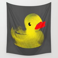 duck Wall Tapestries featuring Rubber Duck by Silvio Ledbetter