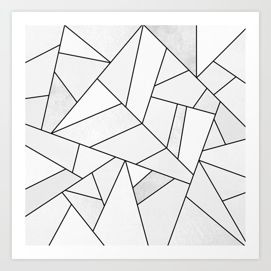 White Stone / Black Lines Art Print