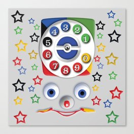 Classic Retro vintage Smiley Toys Dial Phone Canvas Print