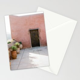 Magical Morocco - Ourika   Coral colored house and wooden door in the atlas mountains Stationery Cards