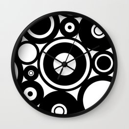 Retro Black White Circles Pop Art Wall Clock