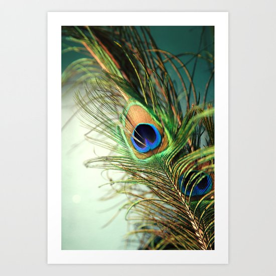 peacock feather-teal Art Print