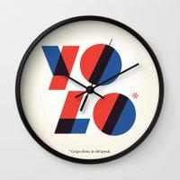 yolo Wall Clocks featuring Yolo by aWharton