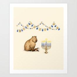 Capy Hanukkah - Capybara and Menorah Art Print