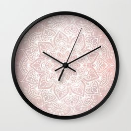 Mandala Yoga Love, Blush Pink Floral Wall Clock